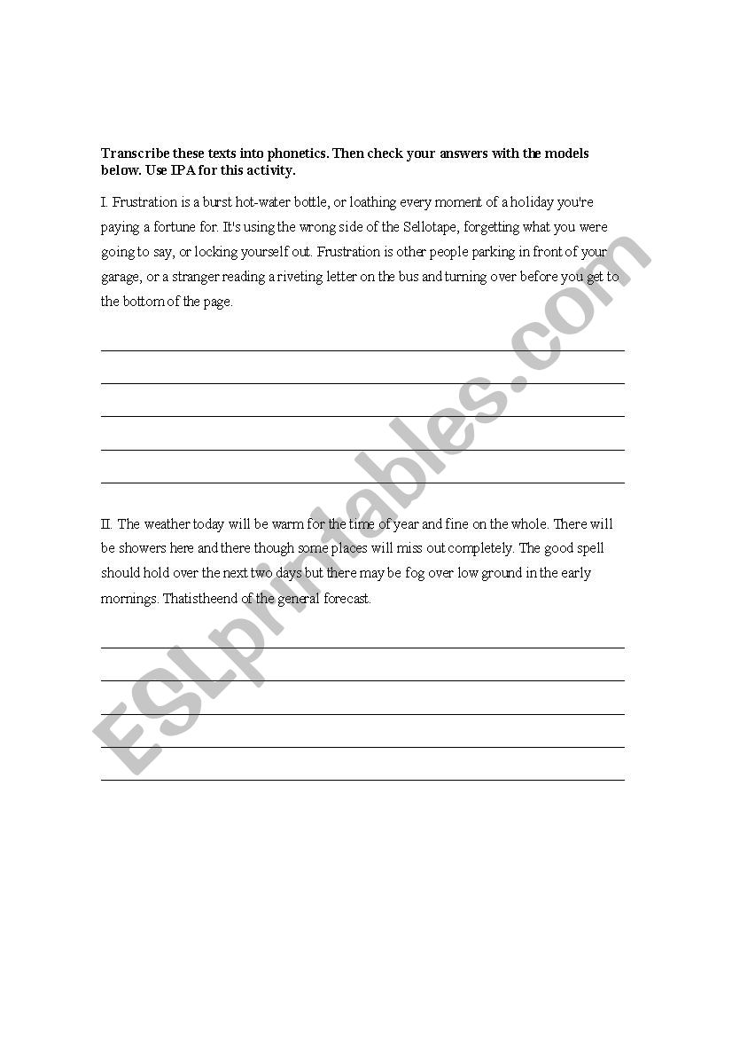 IPA Transcription Practice for Phonetics (with keys) - ESL