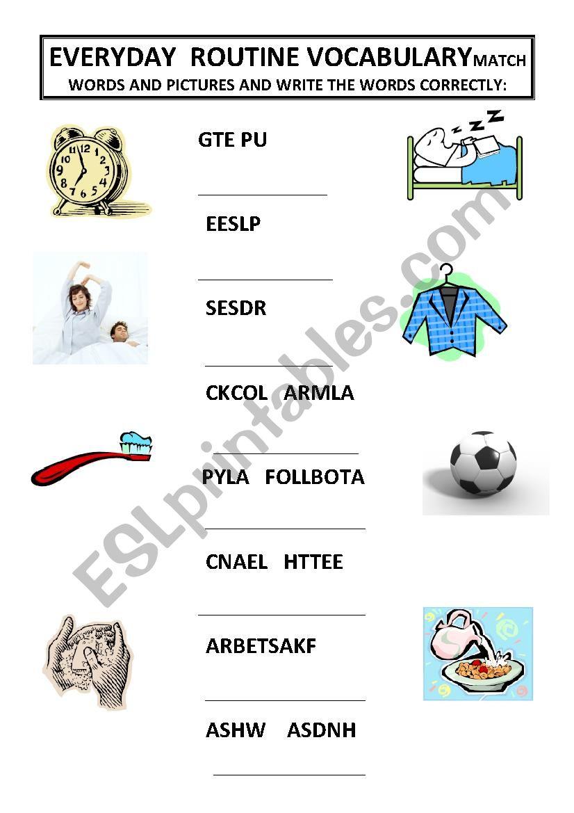 Practice of everyday routine vocabulary
