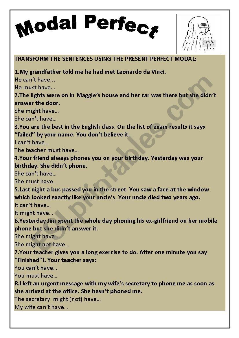 Modal perfect sentence transformation