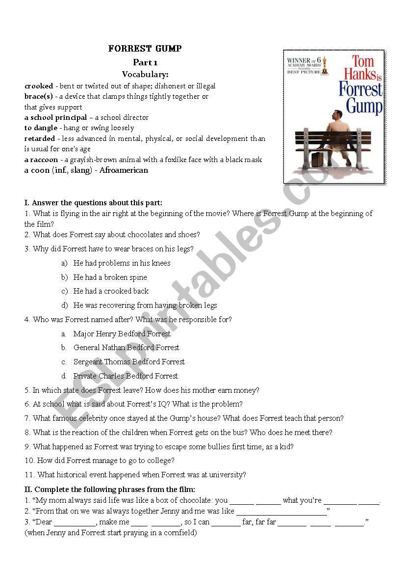 Forrest Gump Movie Worksheet Part I