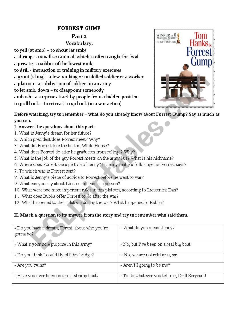 Forrest Gump Movie Worksheet Part II
