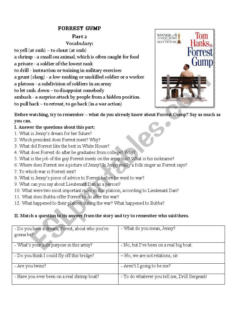 Worksheets Forrest Gump Worksheet forrest gump movie worksheet part ii esl by kawtanka87 ii