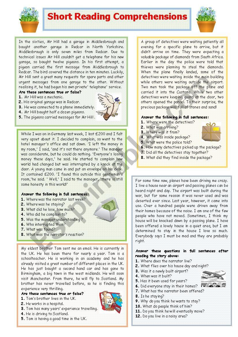 - Short Reading Comprehensions 1 - ESL Worksheet By Elle81