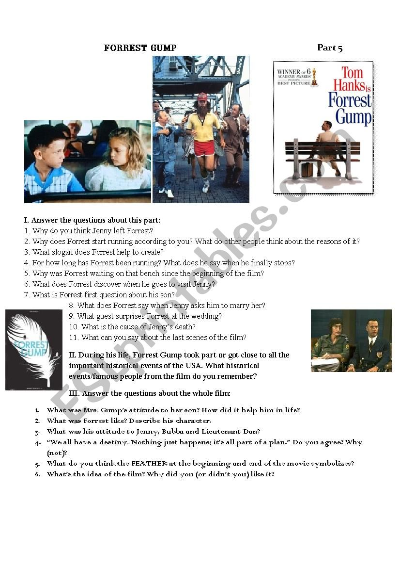 Forrest Gump Movie Worksheet Part V - ESL worksheet by kawtanka87
