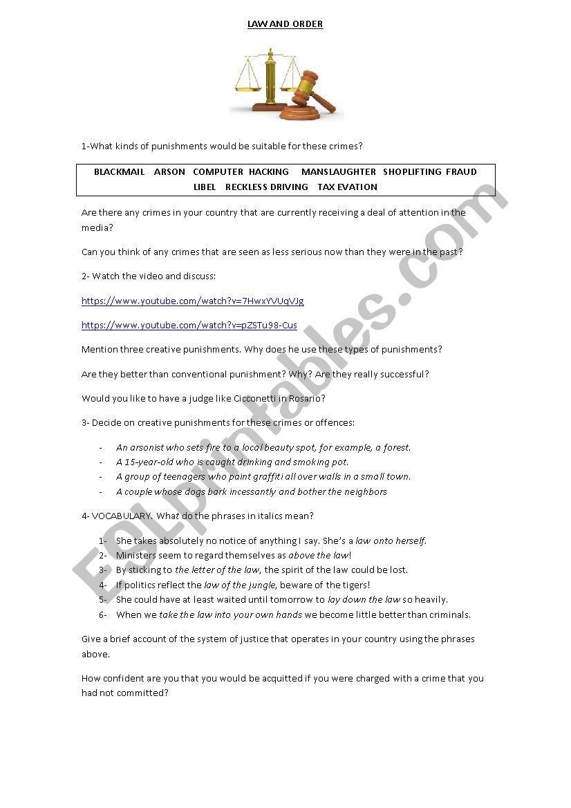 LAW AND ORDER - ESL worksheet by veroviola89