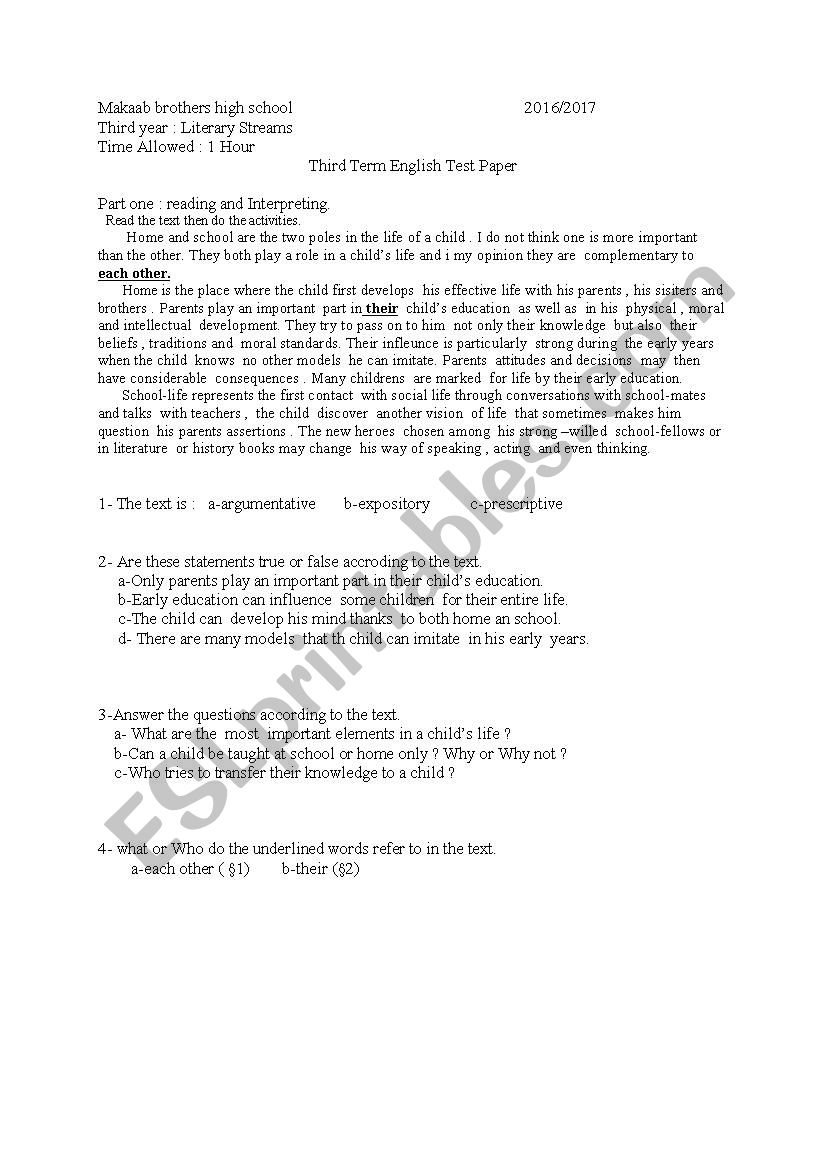 Third Year test worksheet
