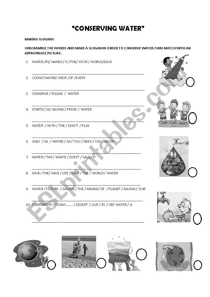Conservin water worksheet