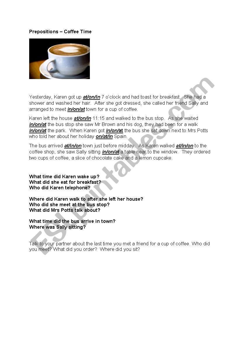 Prepositions - Coffee Time  worksheet
