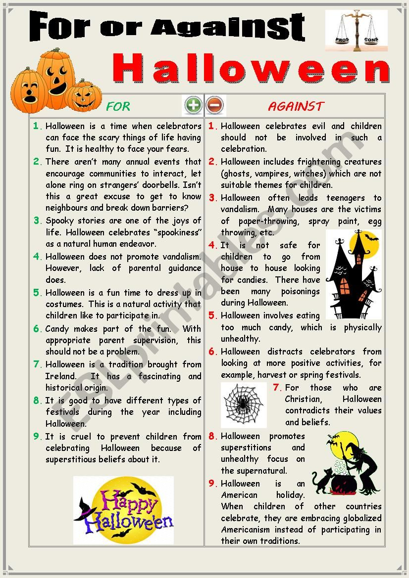 For or against Halloween (Debating)