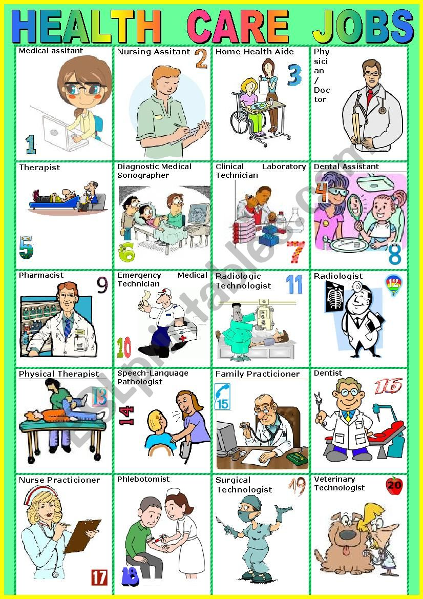 Health Care Jobs Pictionary A To Z Esl Worksheet By Karagozian