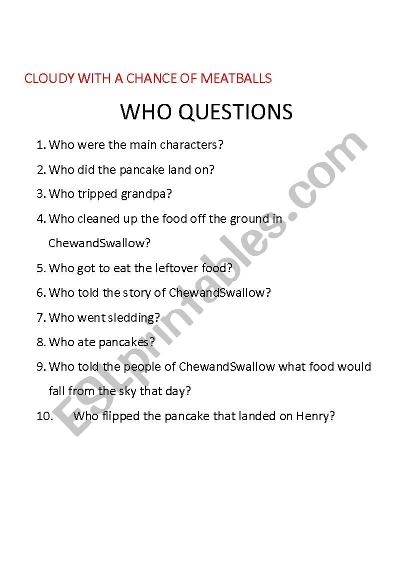 - Cloudy With A Chance Of Meatballs Comprehension Questions - ESL