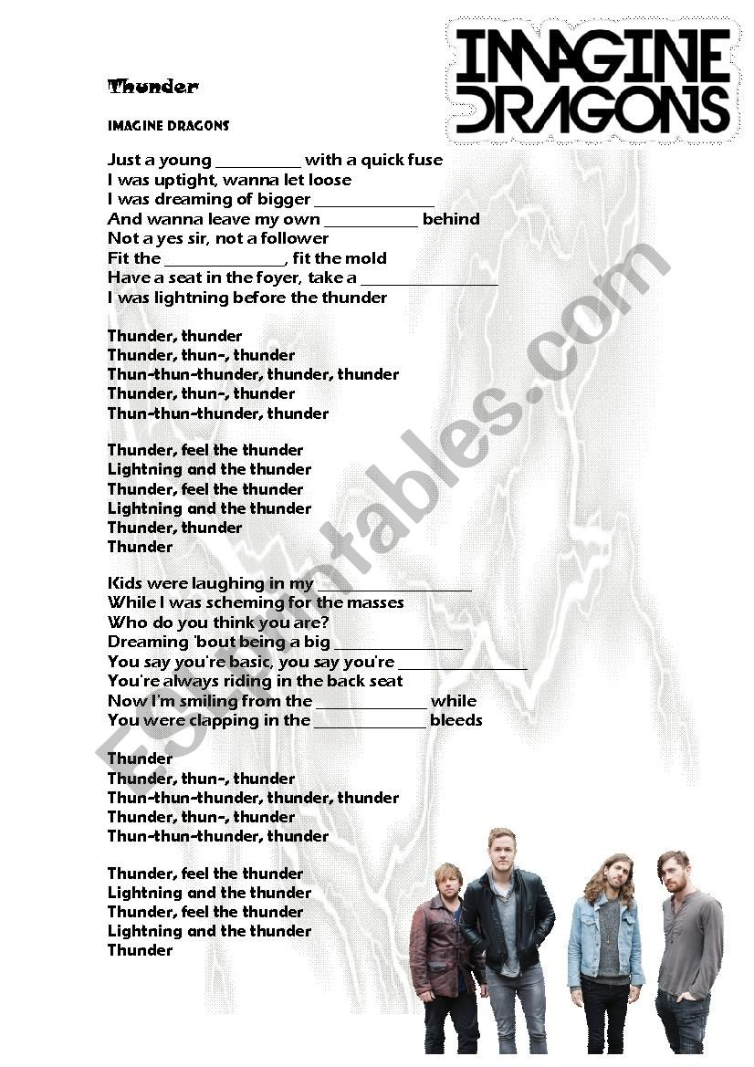 Thunder by Imagine Dragons worksheet