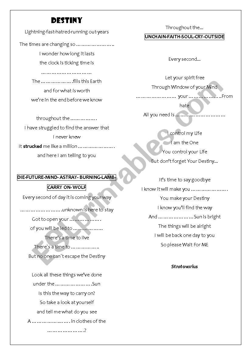 Song: Destiny by Stratovarius worksheet