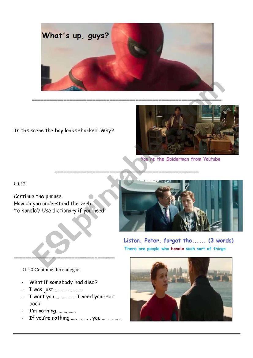 Spiderman Homecoming  worksheet