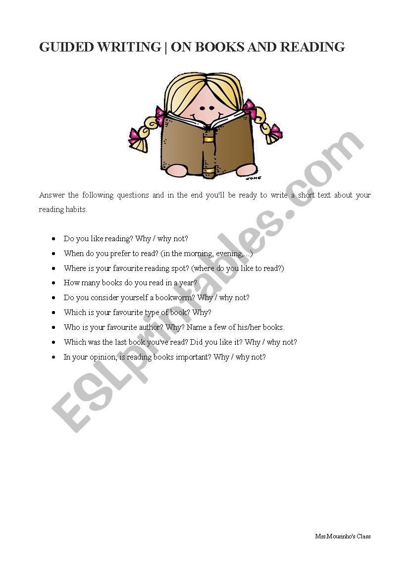On Books and Reading worksheet