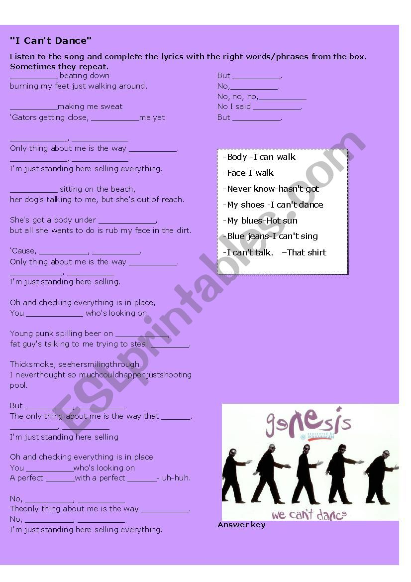 I Can´t Dance song activity worksheet