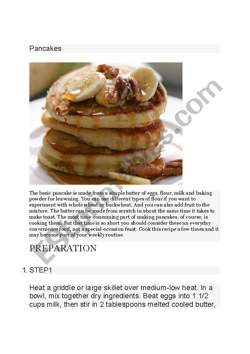 Everyday Pancakes worksheet