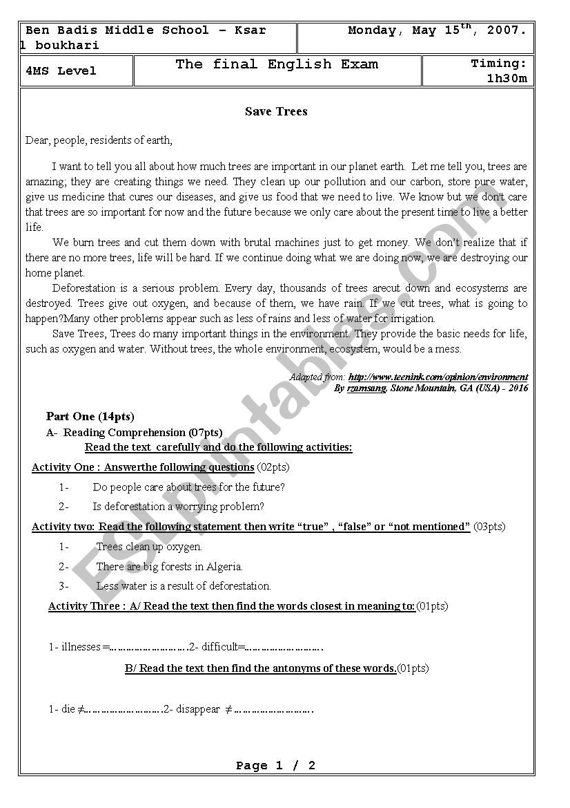 Déforestation - 4MS exam worksheet