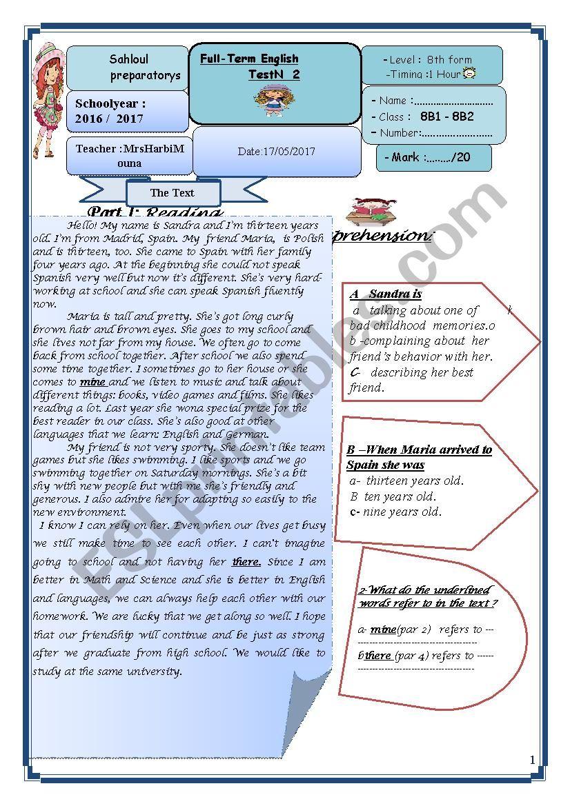 8th form full term test 2 worksheet