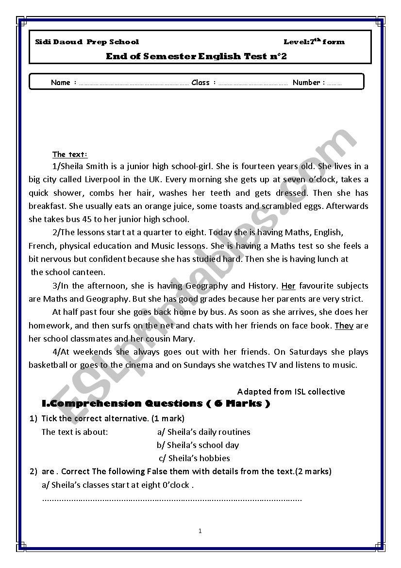 7th End of Semester 2 Test worksheet
