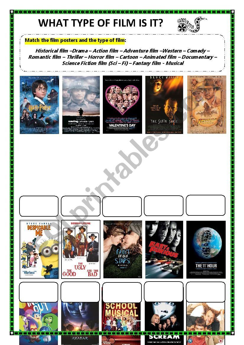 Types of Films Worksheet worksheet