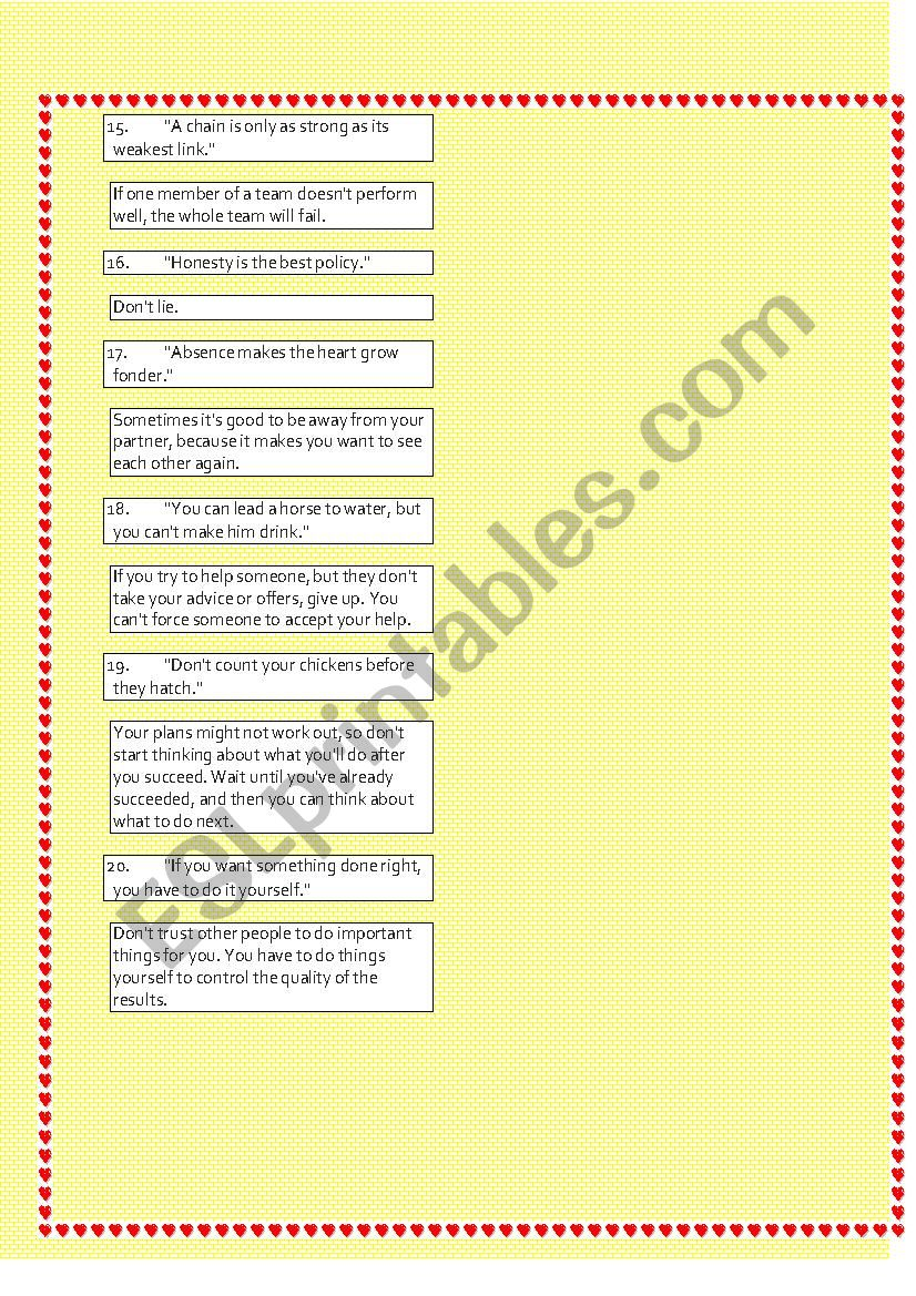 The Most important English Proverbs 2 - ESL worksheet by