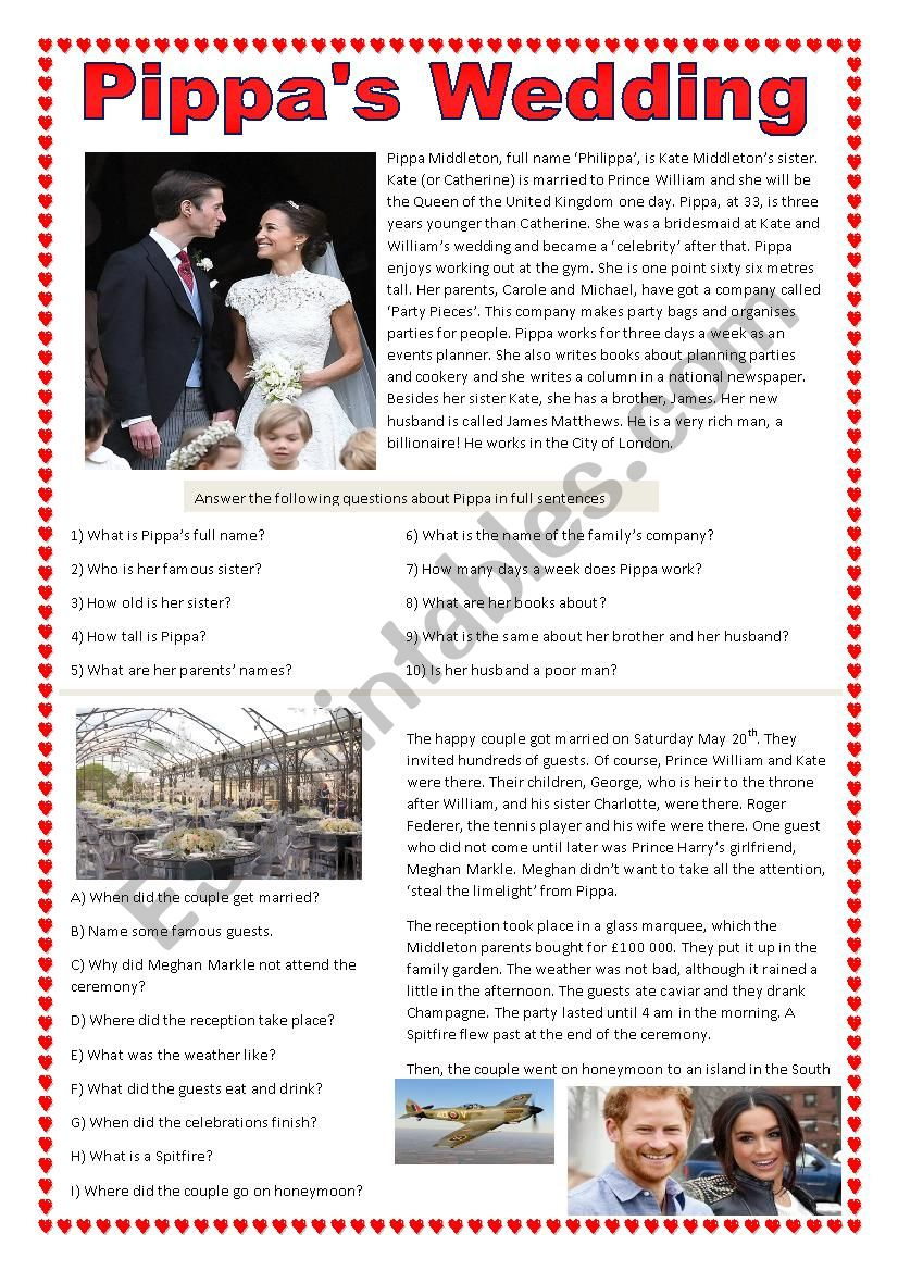 Pippa´s wedding worksheet