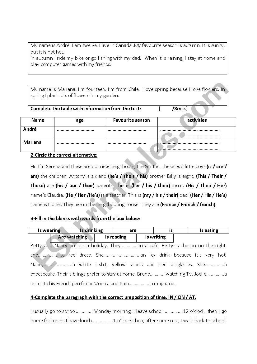 6th form revision ( private primary school Tunisian programme)