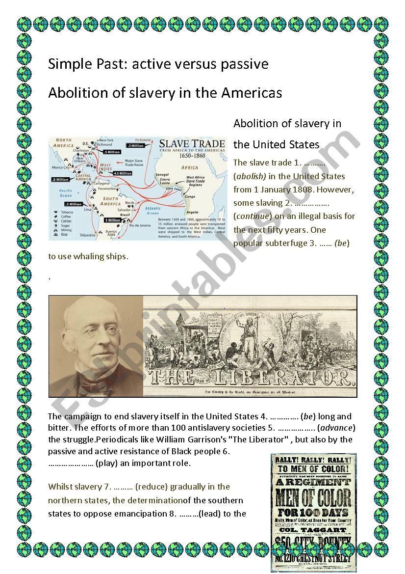Abolition of slavery Passive versus Active Simple Past