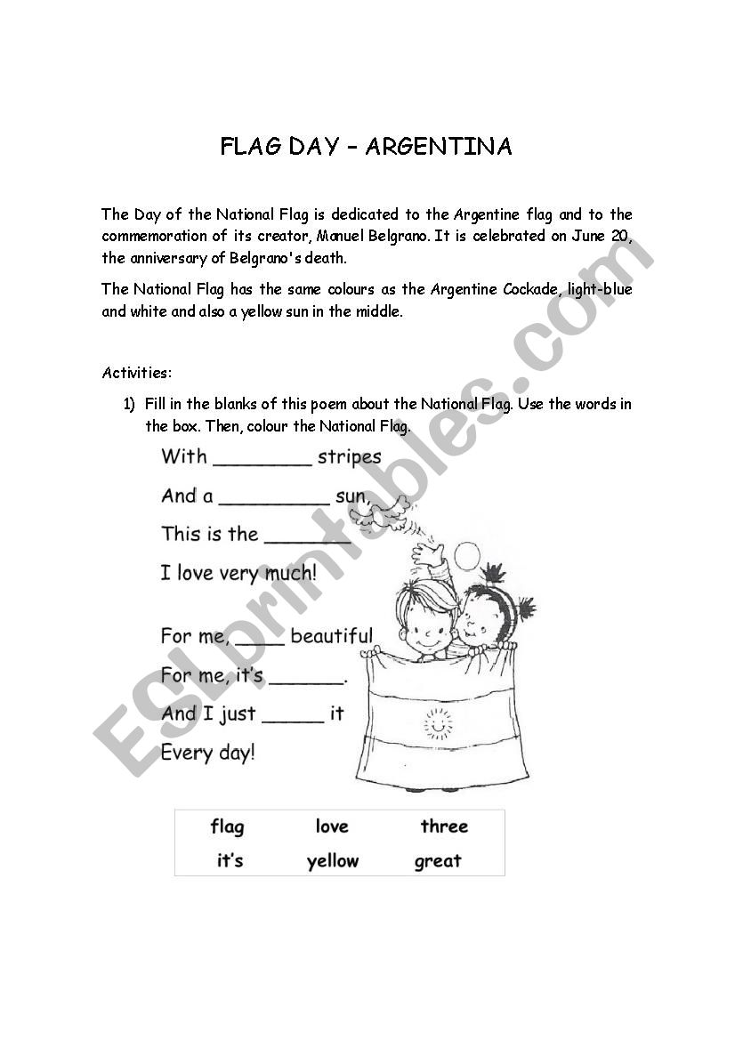 graphic relating to Flag Day Printable Activities titled Argentina - Flag Working day - ESL worksheet by way of maryrech