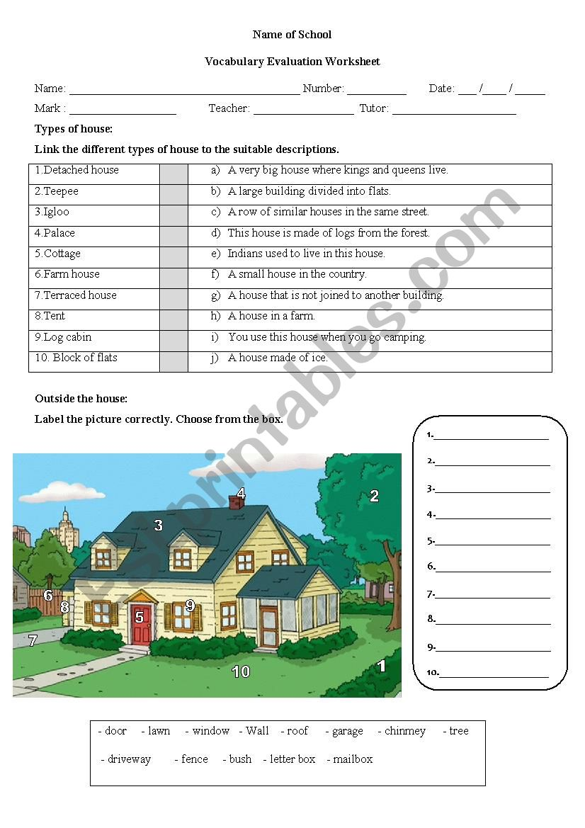 Vocabulary test on the house worksheet