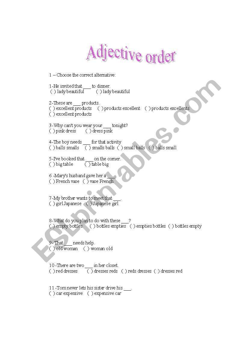 Adjective order worksheet