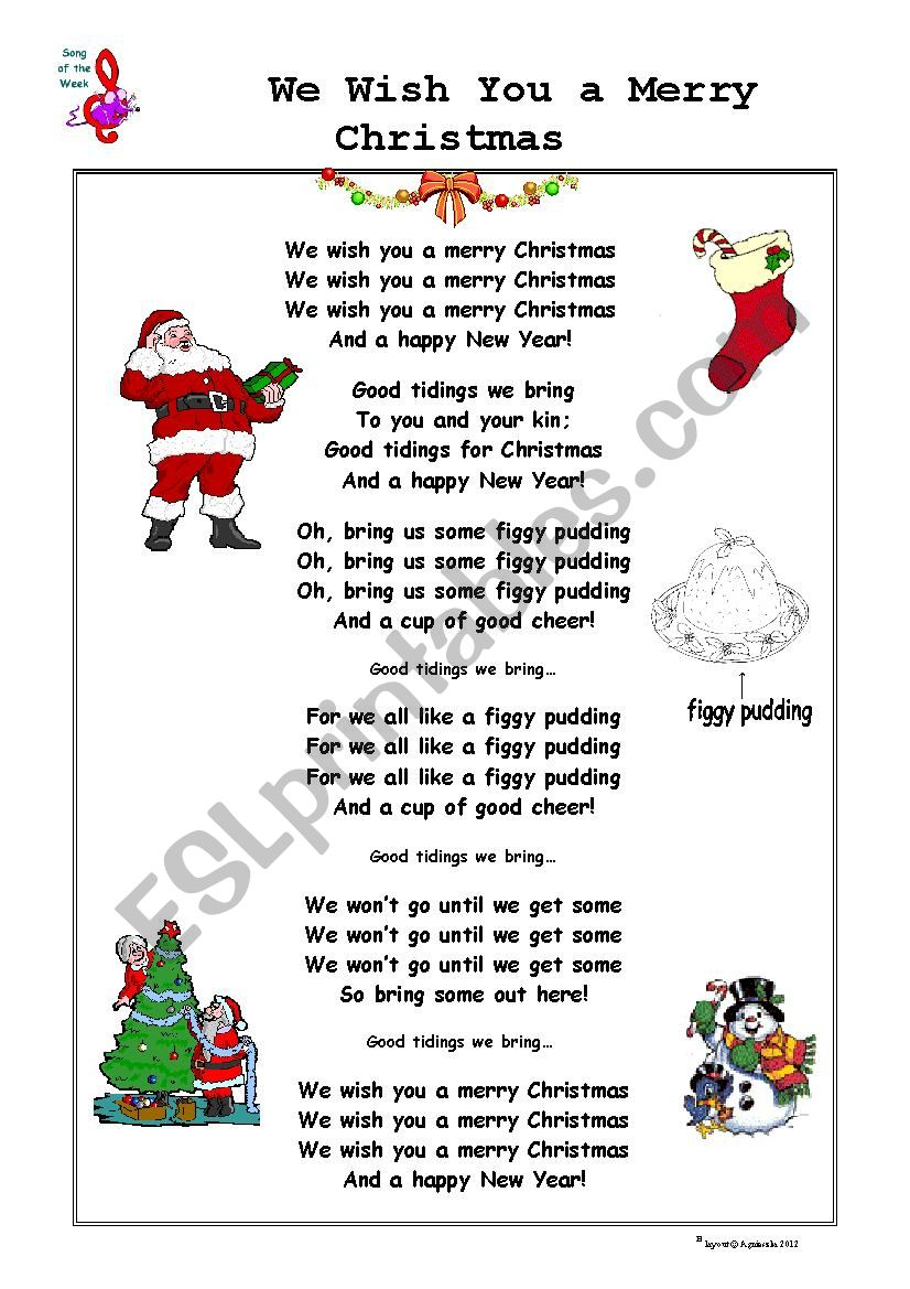 We Wish You A Merry Christmas Song.Christmas Song We Wish You A Merry Christmas Esl