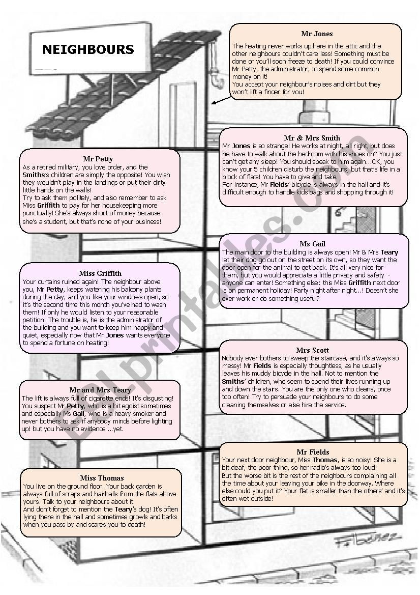 role-play: neighbours worksheet