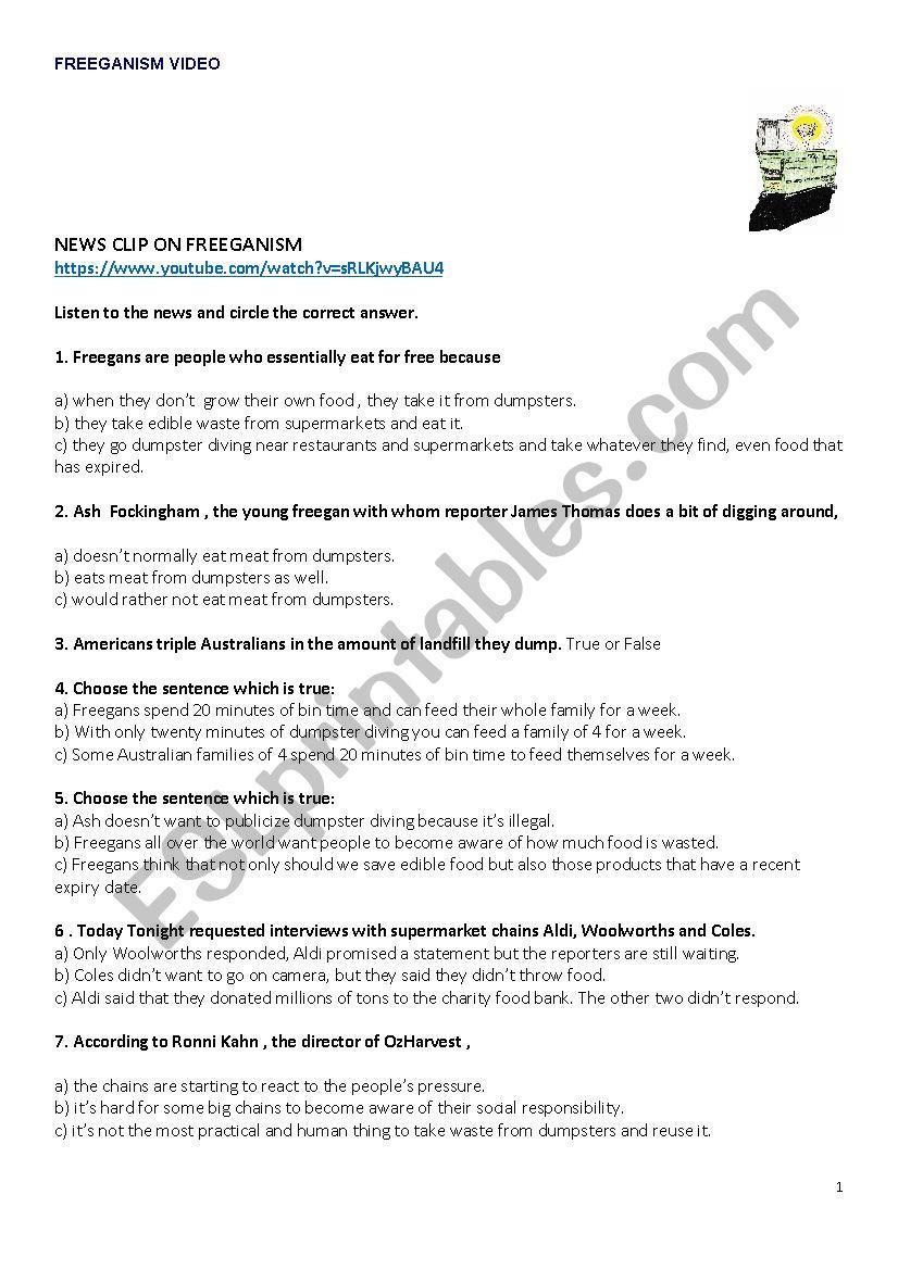 Video about Freeganism worksheet