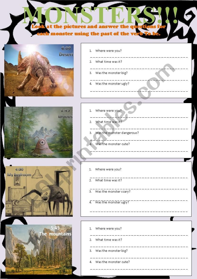 Monsters Happy Earth 1 Unit 3 worksheet