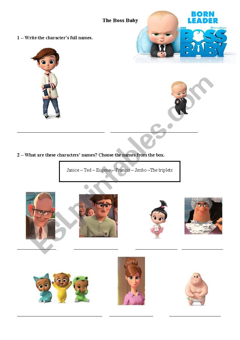The Boss Baby Movie Activity Esl Worksheet By Ptmr