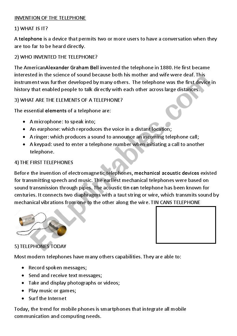 Invention of the telephone - ESL worksheet by Geraldine37907745