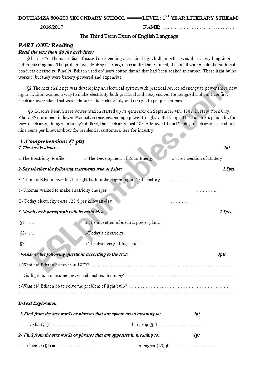 Thomas Edison worksheet