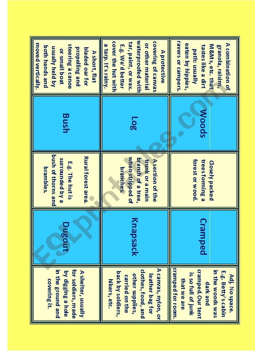 CAMPING Vocabulary for IELTS Advanced- C1 Miniflashcards 4