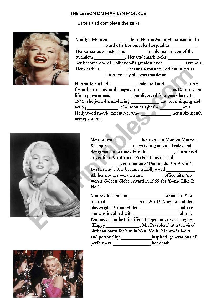 Marilyn Monroe worksheet