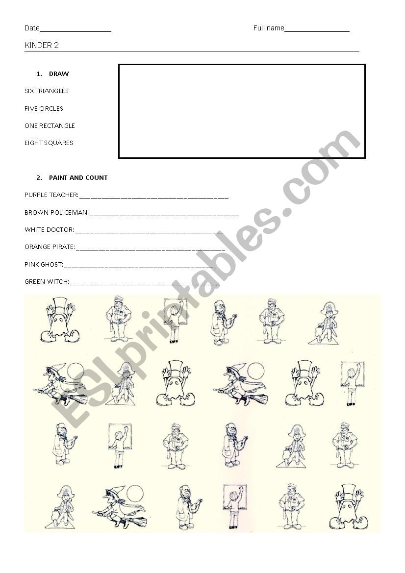 Test kinder 2 worksheet