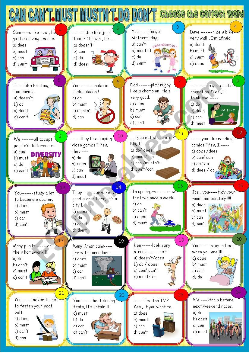 Can must do : revisions worksheet