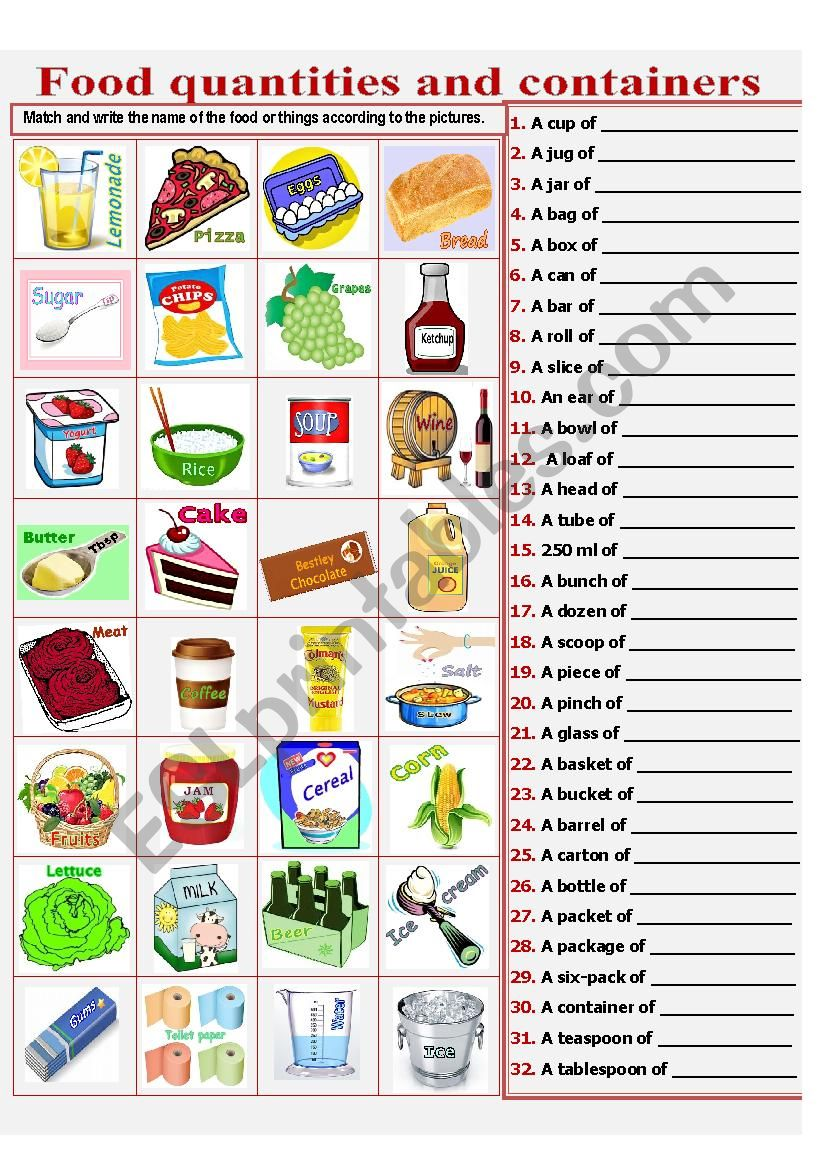 Food quantities and containers