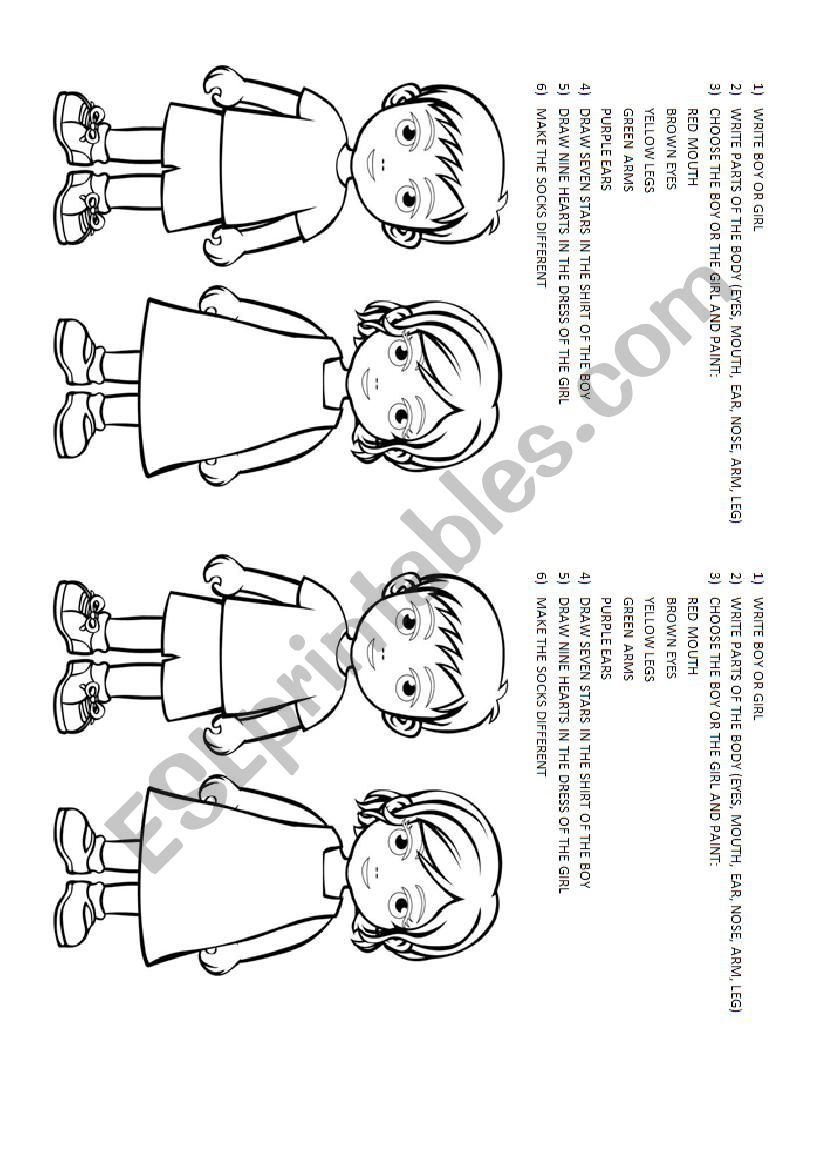 Kinder exercise worksheet