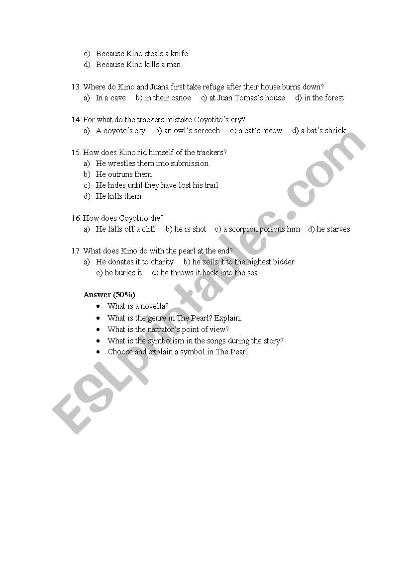 The Pearl John Steinbeck Esl Worksheet By Nadiac17