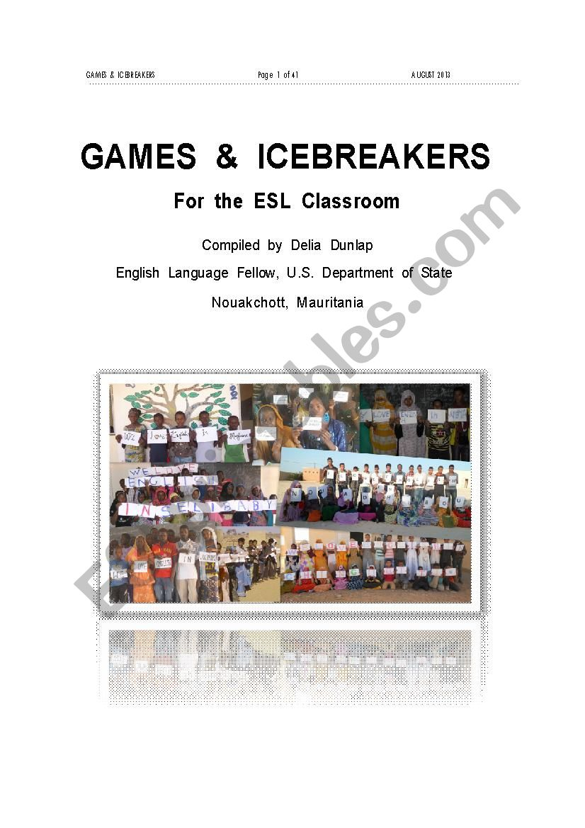 GAMES  &  ICEBREAKERS      For  the  ESL  Classroom