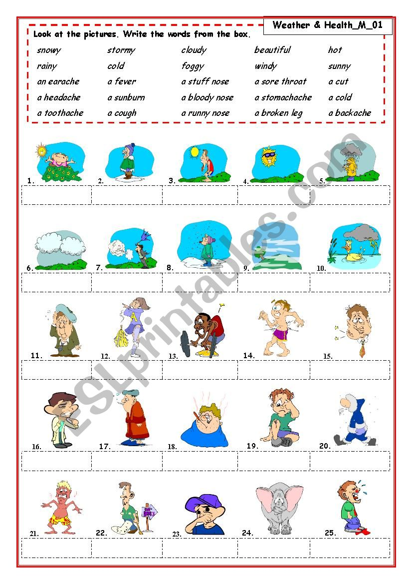 Weather & Health problems worksheet