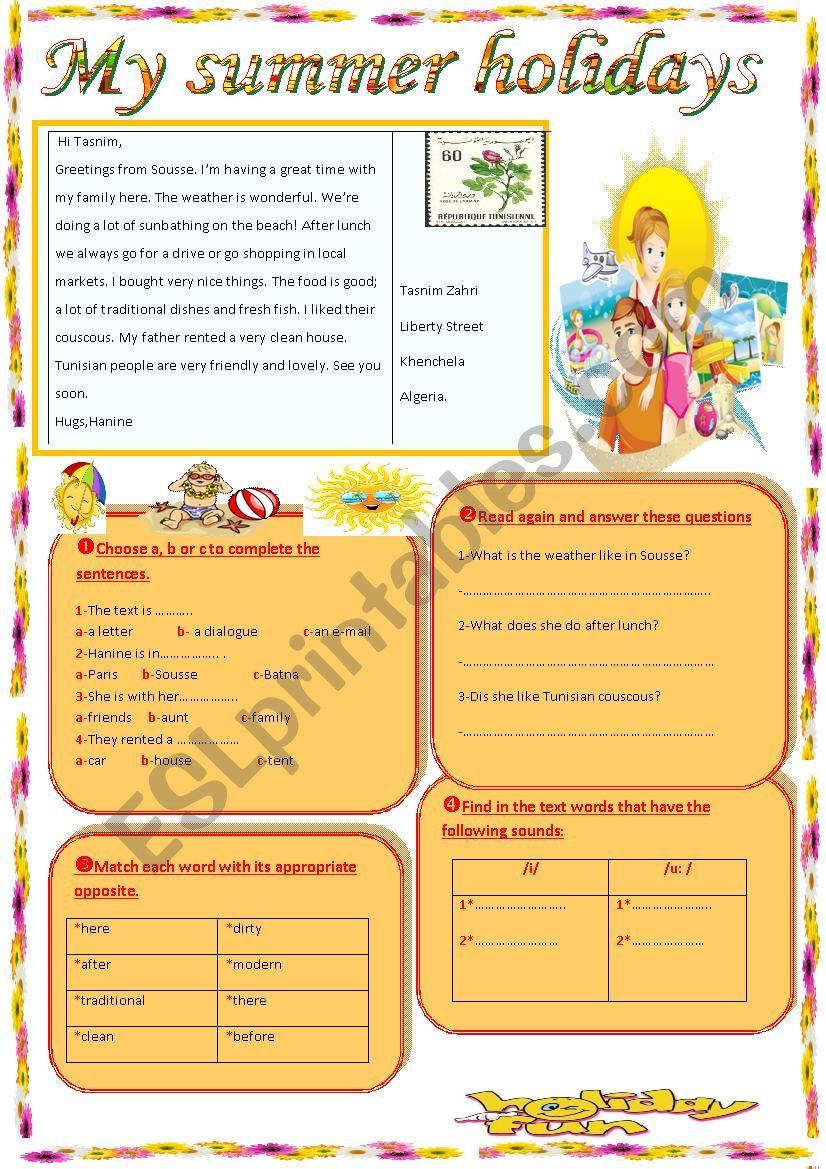 My summer holidays - ESL worksheet by sasuna