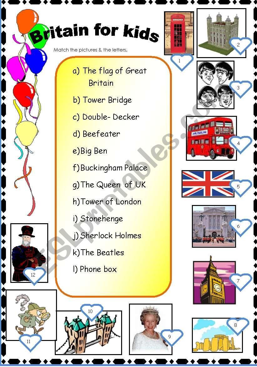GRAT BRITAIN FOR KIDS. worksheet